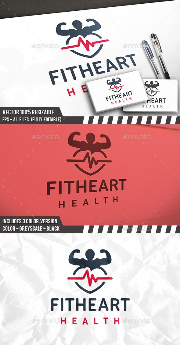 #Fitness Health Heart #Logo - Humans Logo Templates Download here: https://graphicriver.net/item/fitness-health-heart-logo/20068843?ref=alena994