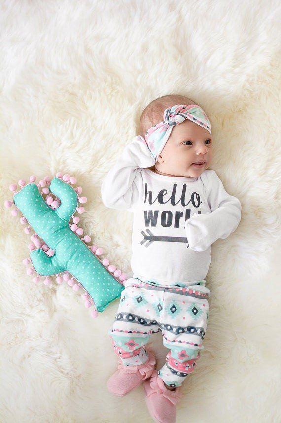 Hello World Baby Clothing Set Long Sleeve Bodysuit, Tribal Aztec Pants, and Matching Headband Newborn Toddler