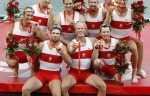 Canadian Men's Eight show off their gold medals at the Shunyi Olympic Rowing-Canoeing Park during the 2008 Beijing Olympic Games in Beijing Aug 17, 2008. The Canadian Men's eight won the gold while Great Britain took silver and USA bronze.