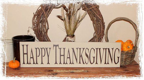 Happy Thanksgiving WOOD SIGN Fall Country Decoration Rustic Primitive Holiday Home Decor Gift
