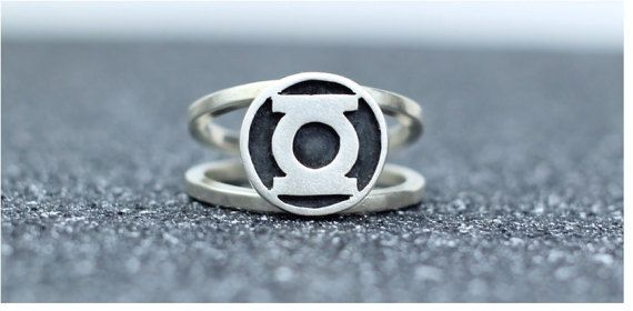 Green Lantern Ring Solid Sterling Silver Signet by TempestSociety