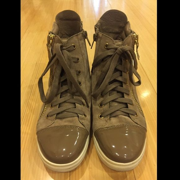 Forever 21 Women's High Top Sneakers Grayish-brown suede w/ gold zippers - ONLY WORN TWICE Forever 21 Shoes Sneakers