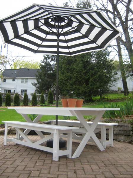 Pottery Barn Benches with X Table...Modified   Do It Yourself Home Projects from Ana White