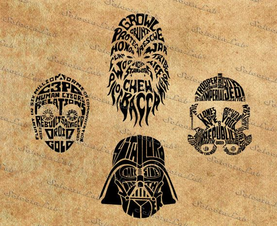 Digital SVG PNG star wars inspired, star wars typhographic faces, empire, republic, jedi, silhouette, vector, clipart,download