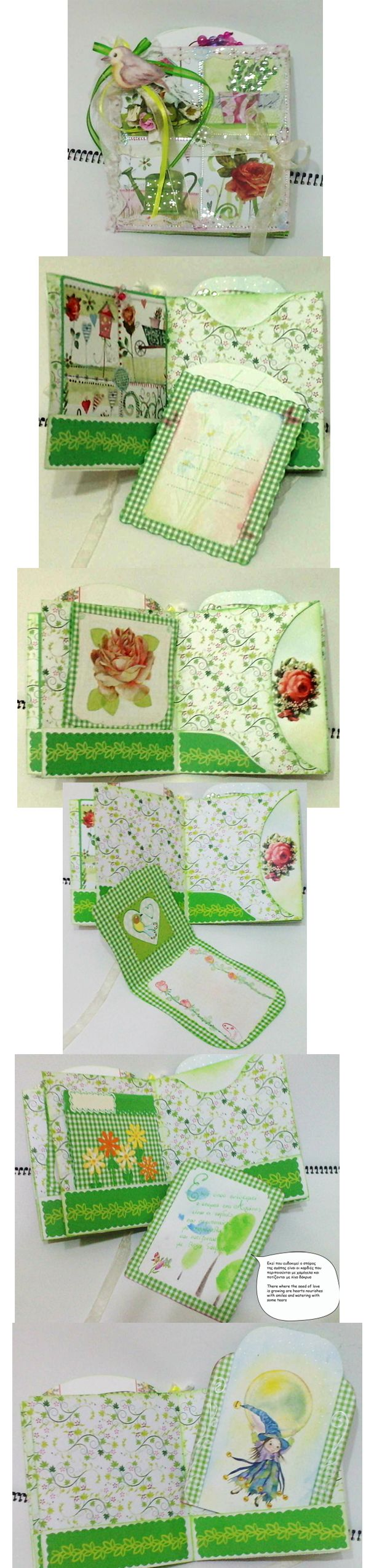 "my green mini album the card says ""There where the seed of love is growing are hearts nourishes with smiles and watering with some tears'"