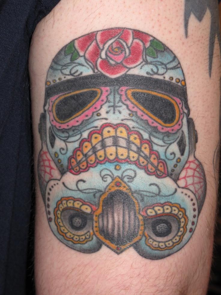 day of the dead trooper helmet   Tattoo Inspiration ... Stormtrooper Helmet Sugar Skull