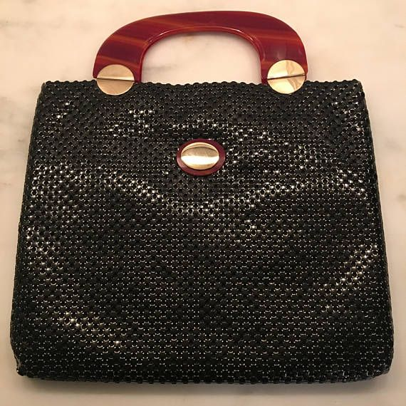 Immaculate Whiting Davis Black Mesh Handbag 1970 S