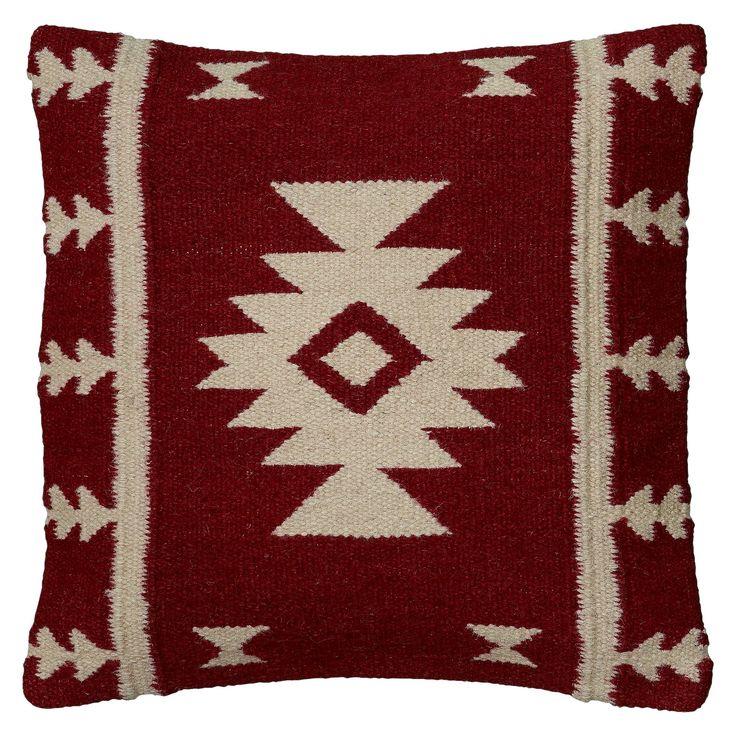 "Red/Ivory Southwestern Stripe Throw Pillow 18""x18"" - Rizzy Home"