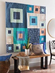 Funky quilt made with Prisma Elements and AGF Denim!  #ArtGalleryFabrics #sewing #quilting #quilt #fabric #inspiration