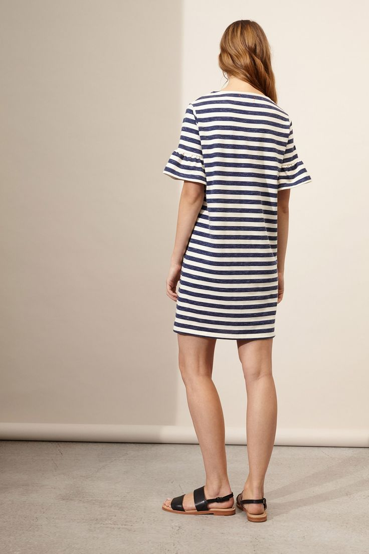 Chinti And Parker Woman Striped Ribbed-knit Cotton And Silk-blend Dress Navy Size M Chinti and Parker bEulT