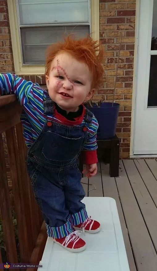 Nicole: I made this costume for my One year old toddler. I find it slightly annoying that all baby/toddler costumes are cute and UN horror related. Maybe I'm the only one...