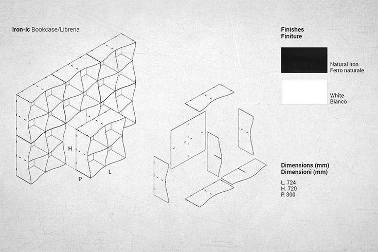 Modulaire metalen boekenkast door Ronda ontwerp