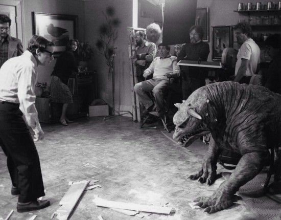 """Behind the scenes of """"Ghostbusters"""". Rick Moranis and a terror dog."""