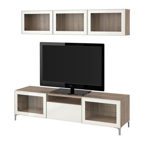 BestÅ Tv Storage Combination Gl Doors Walnut Effect Light Gray Selsviken High Gloss Beige Frosted Drawer Runner Soft Closing