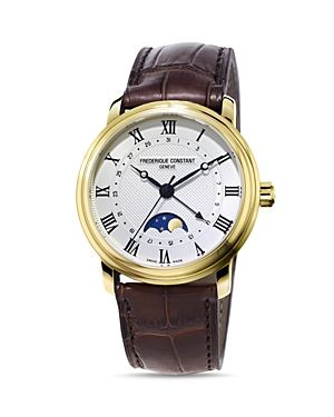 Frederique Constant Moonphase Classics Men Watch. Yellow gold plate, stainless steel; sapphire crystal window,40mm case. Water resistant to 6 ATM