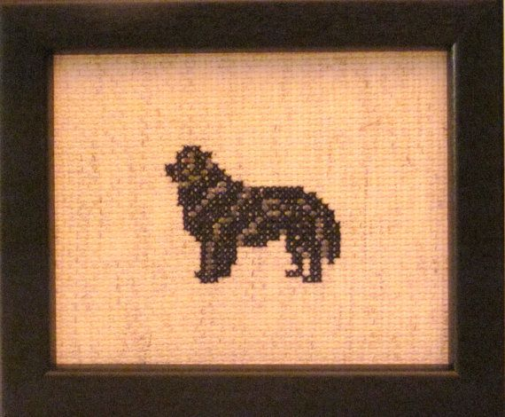 Newfoundland Cross Stitched Full Body Dog. by pianstitches on Etsy, $20.00