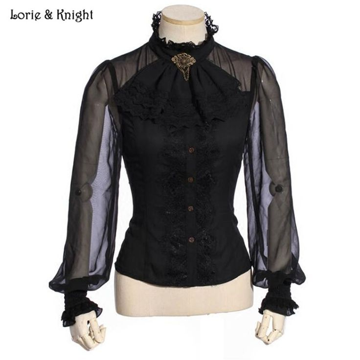 Victorian Steampunk Lace-up Design Gothic Tops Long Sleeve Black Blouse with Jabot SP180BK