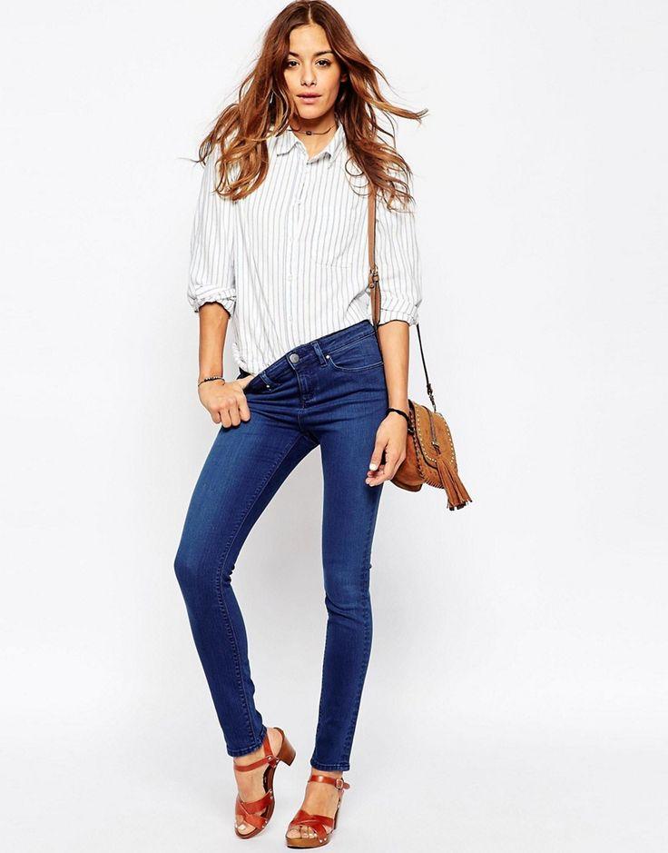 Immagine 4 di ASOS - Lisbon - Jeans skinny a vita medio alta lavaggio blu  Duke