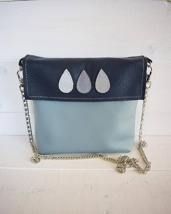 Blue Leather Bag Genuine Leather Navy Blue Clutch Leather