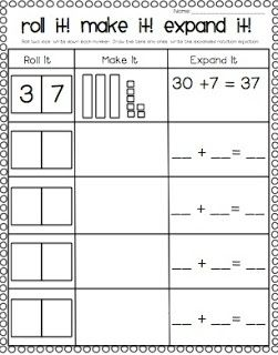 Preview for first grade~ place value practice for deeper understanding of  2 digit addition ~ roll it ~ write it ~ build it ~ draw it ~ write it in expanded notation ~ first grade math ~ common core ~: