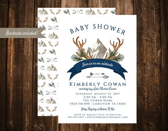 Antlers & Arrows Navy Baby Shower Invitation Mountains