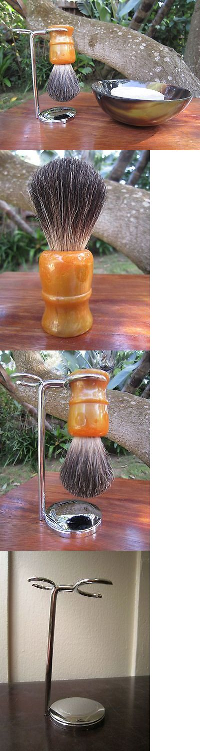 Shaving Brushes and Mugs: Shaving Bowl, Brush, And Stand Wth Natural Soap - Pure Badger Brush BUY IT NOW ONLY: $54.95