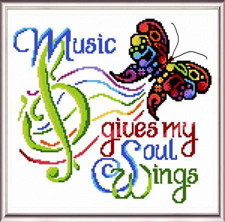 Music Wings - cross stitch pattern designed by Ursula Michael. Category: Music.