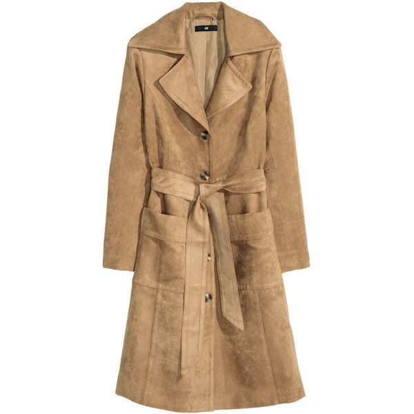 H&M Coat in imitation suede ($76) ❤ liked on Polyvore featuring outerwear, coats, beige, tie belt, faux suede coat, h&m coats, h&m and beige coat