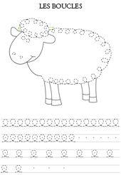 schrijven voor kleuters / Graphisme à imprimer, les boucles, un mouton en pointillés