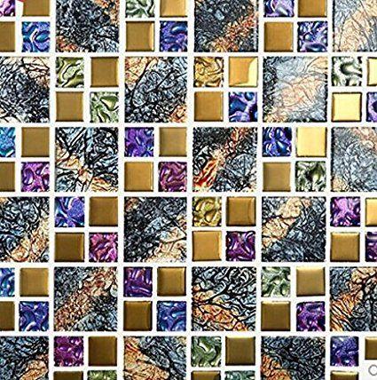 GOWE motivo a mosaico per piastrelle da parete con cristallo-Adesivi a mosaico per piastrelle, Europa, puzzle da bagno mosaic tiles