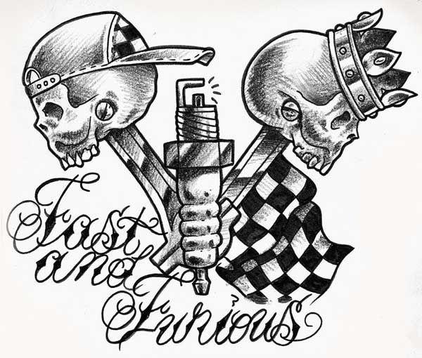 Fast-and-furious-grey-ink-bike-piston-skulls-tattoo-design