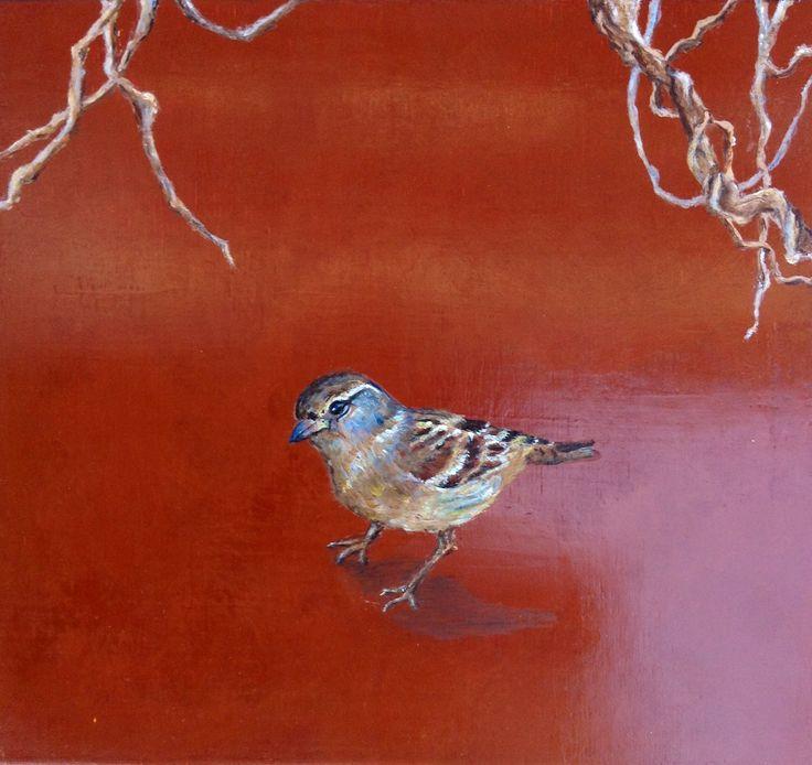 Pájaro fondo rojo. pintura sobre tabla