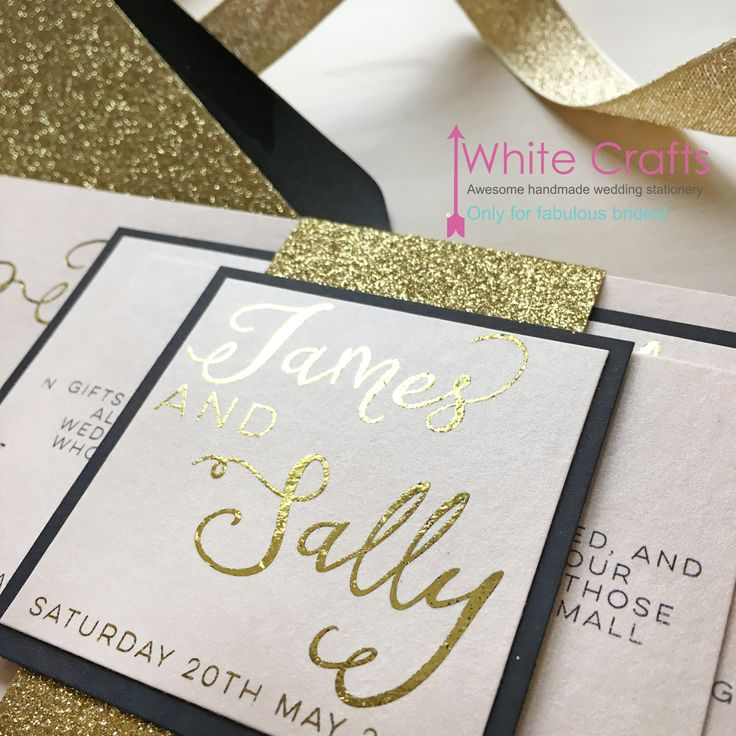 Gold foil and glitter with rose blush pink and blush coral wedding invitations Invitations | White Crafts www.whitecrafts.com #GoldFoil #GoldGlitter #GoldWedding #GlitterWedding #GlitterWeddingInvitation #GlitterandGlam #GlitterandGlamWedding #Blackandgoldwedding #goldweddinginvitation #GatsbyWedding #GatsbyParty #GatsbyInvitations