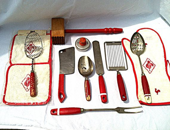 Vintage 1940s Red Kitchen Collection // by NonabelleVintage, $30.00