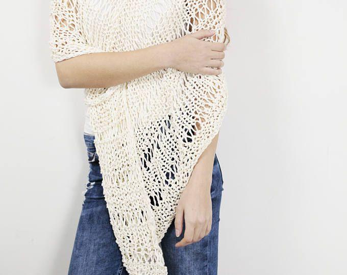 Poncho de algodón poco bufanda punto encogiéndose de hombros mujer crema blanca suéter de punto tejido a mano