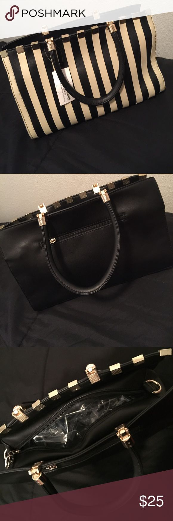 Black and White Striped Purse Black and white/beige bag plus wrapped chain shoulder bag. Never used. jcpenney Bags