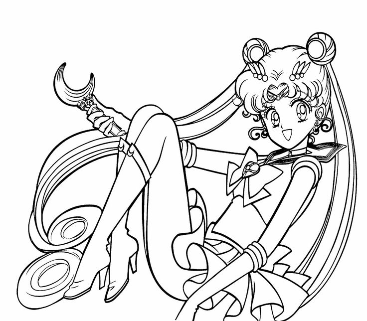 Sailor Moon Was Sitting Relaxed Coloring Page For Kids