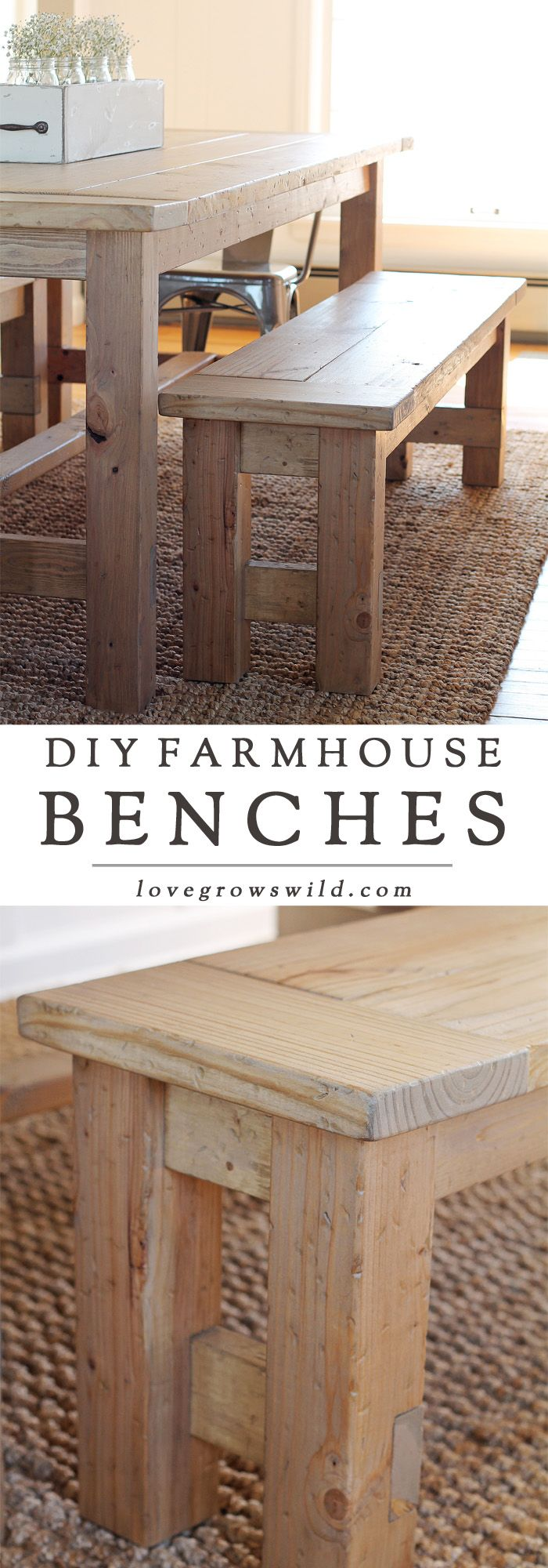 Learn how to build an easy DIY Farmhouse Bench Details at LoveGrowsWild.com