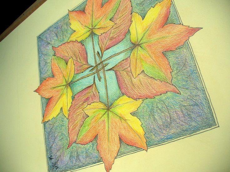 Mandala - podzimní studánka Pastelky na hladkém tónovaném papíře vyšší gramáže. Bez rámu, v případě zájmu zařídím zarámování. Formát 30x30cm
