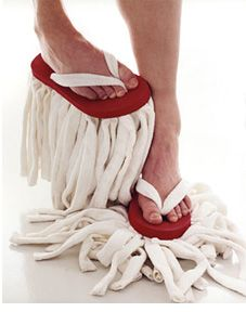 Just hope your friends don't drop by while you're mopping the floors with your flip flop mops!! I NEED I NEED!