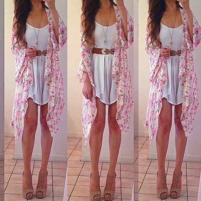 .@rinasenorita | Yesterday  #ootd #summer  kimono: @LookBookStore | belt: @honeypeachesboutique | Webstagram