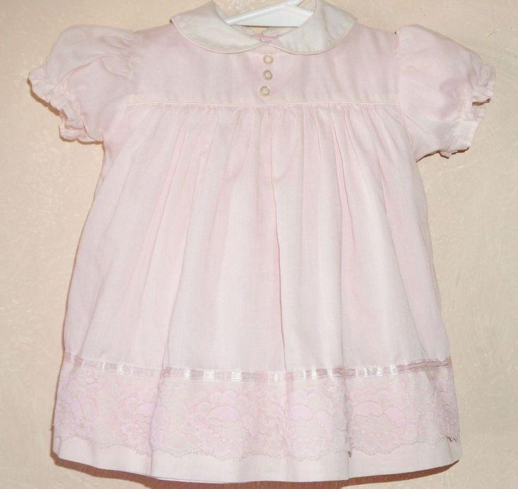 Vintage 1950'S Kate Greenway Frock Dress Sz 8 Mo  Pink Lace Satin Ribbon #KateGreenway #Party