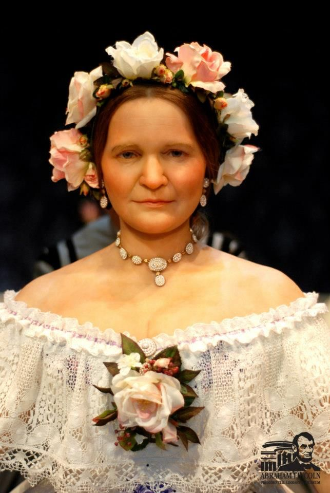 Mary Todd Lincoln as portrayed in the Abraham Lincoln Library and Museum in Springfield, Illinois. The mannequin wears a replica of the seed pearl parure Mrs. Lincoln cherished.