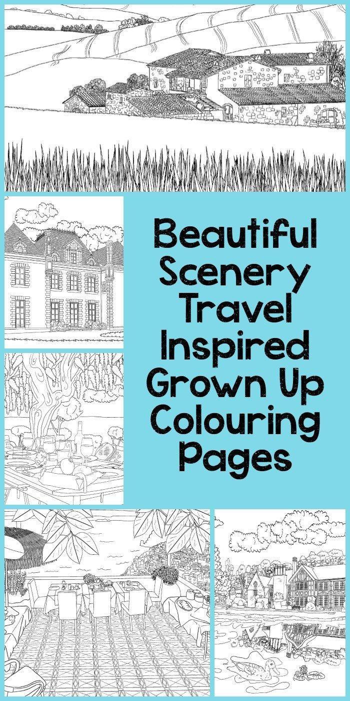 Free coloring pages landscapes printables - Beautiful Scenery Colouring Pages