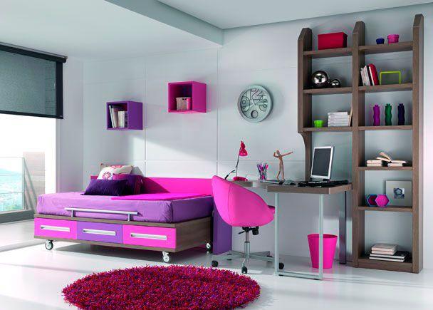 Dormitorio Juvenil con cama con ruedas