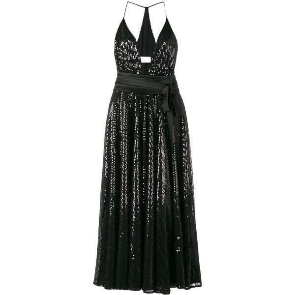 Racil sequinned halterneck dress (€975) ❤ liked on Polyvore featuring dresses, black, halter dress, sequin dress, halter neck dress, sequin halter dress and sequin embellished dress