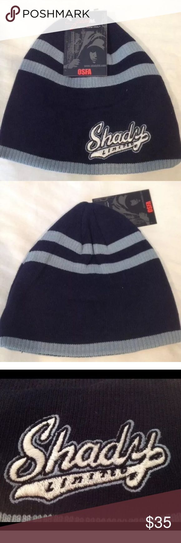 New Navy &light blue Eminem Shady Limited edition Brand new with tags Eminem Shady Limited edition 🔥❤️🔥Navy with light blue stripe beanie . One size fits all Cotton blend with acrylic  This is a HARD to Find beanie .  This is 100% authentic . Shady LTD Accessories Hats