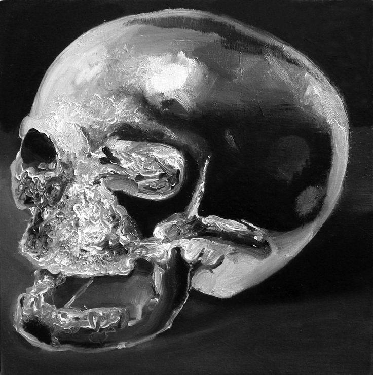 Crystal skull, 2008, olej, 30x30cm autor: Bartek Buczek