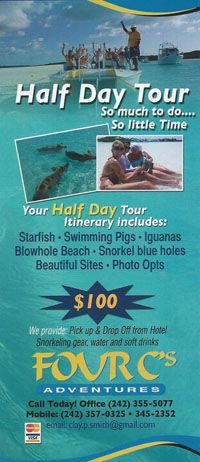 only from Exuma, pick up at the airport $860 full day tour $108 per person  7:20 typical arrival