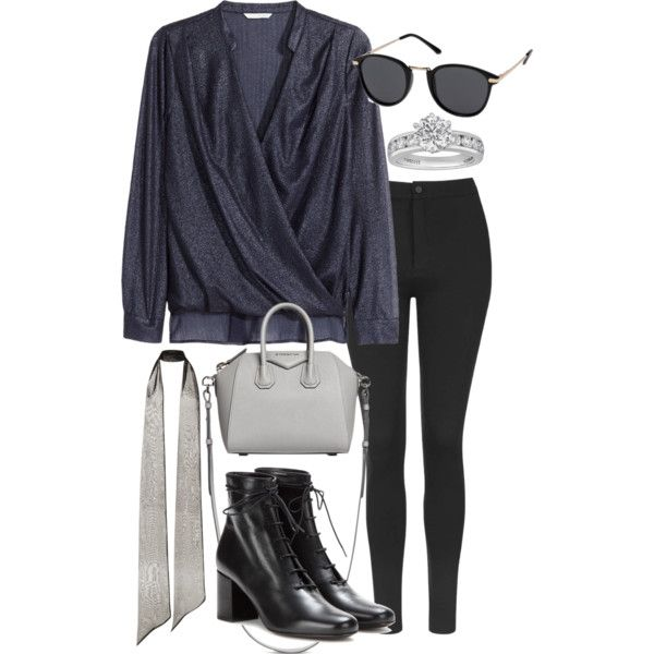 A fashion look from October 2015 featuring H&M blouses, Topshop leggings and Yves Saint Laurent ankle booties. Browse and shop related looks.